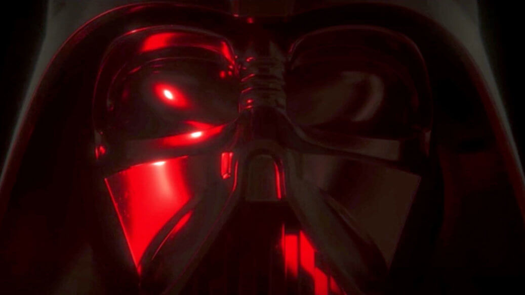 Darth Vader's mask lit up by a red light