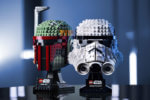 Boba Fett and Stormtrooper helmets built from LEGO bricks