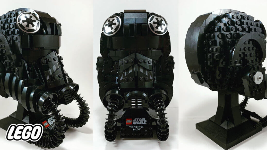 LEGO TIE Fighter Pilot Helmet from multiple angles