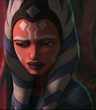 Ahsoka looking downtrodden and filled with regret
