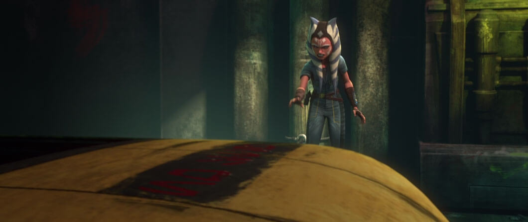 Ahsoka uses the Force to pull a speeder to safety in Clone Wars Season 7 Episode 5