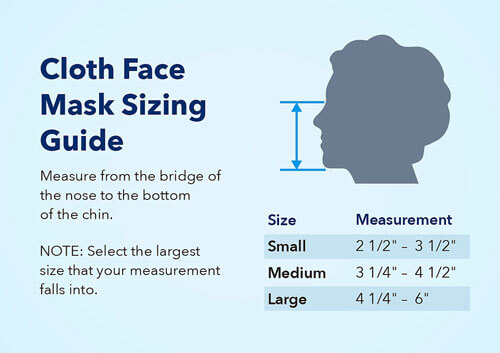 Star Wars face mask sizing chart