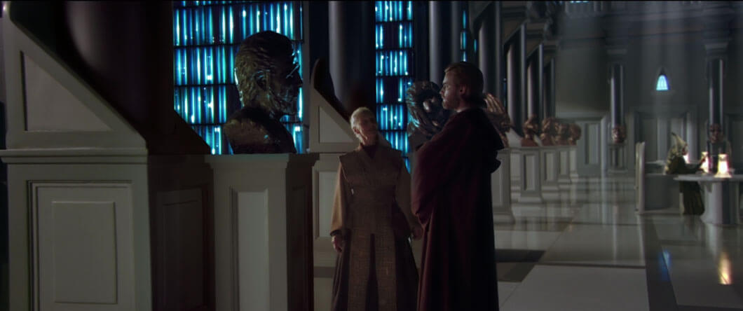 Obi-Wan studies the bronze bust of Count Dooku