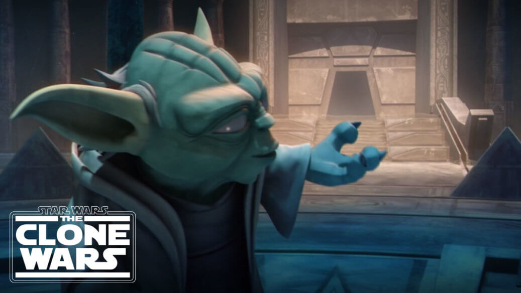 Yoda gestures towards a temple door