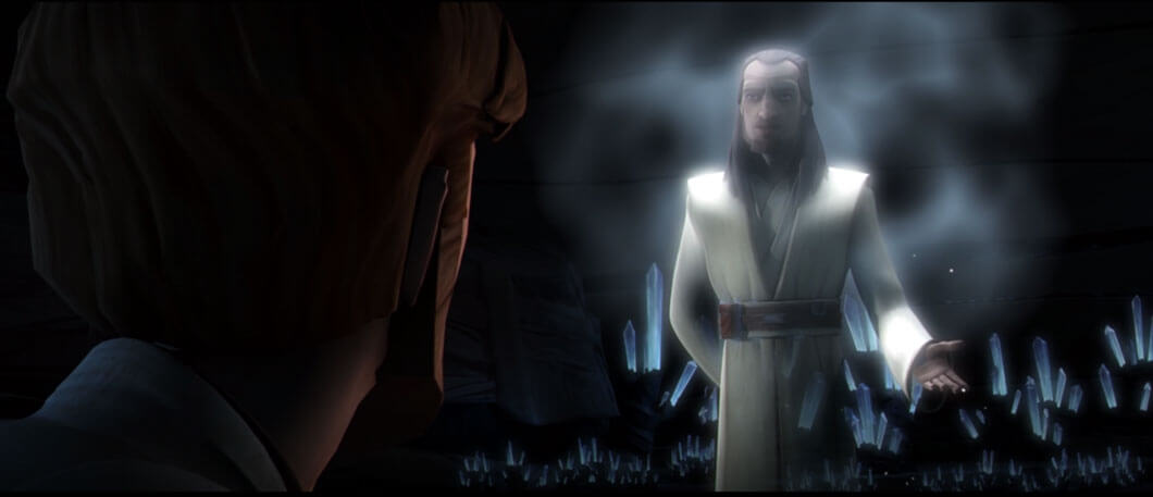 Qui-Gon Jinn appears to Obi-Wan Kenobi as a Force Spirit