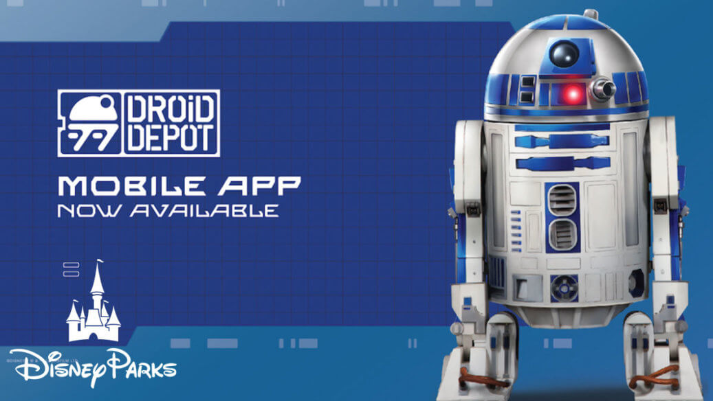 R2-D2 next to the Droid Depot Logo