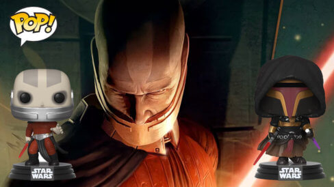 Darth Malak and Revan POP in front of KOTOR poster art