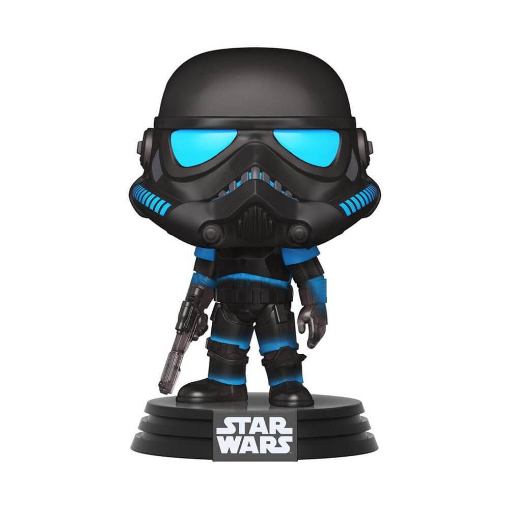 Shadow Trooper POP wearing black and teal blue armor holding a blaster