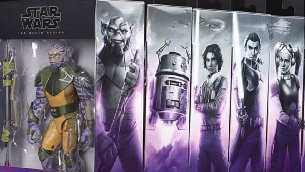 Black Series figures in boxes of the Star Wars Rebels characters