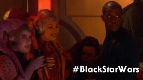 black star wars actor Ahmed Best as Achk Med-Beq in Episode II: Attack of the Clones