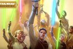 high republic jedi with lightsabers in the air