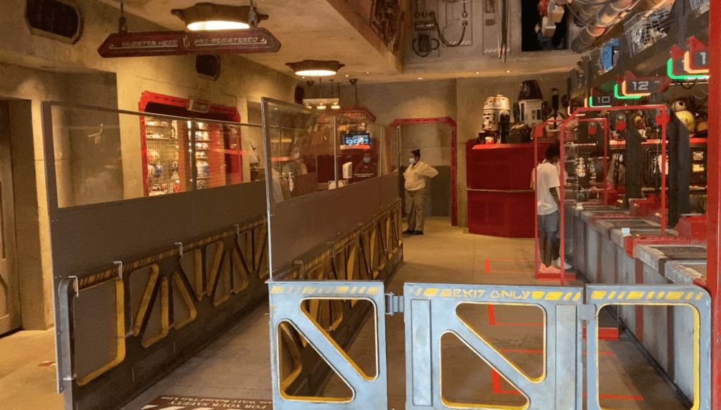 Dividers and taped off red rectangles are some of the changes to droid building at the Droid Depot.