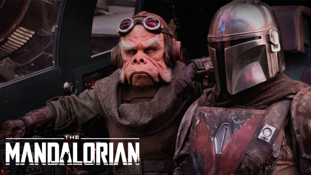 Kuiil and The Mandalorian in the cockpit of the Razor Crest
