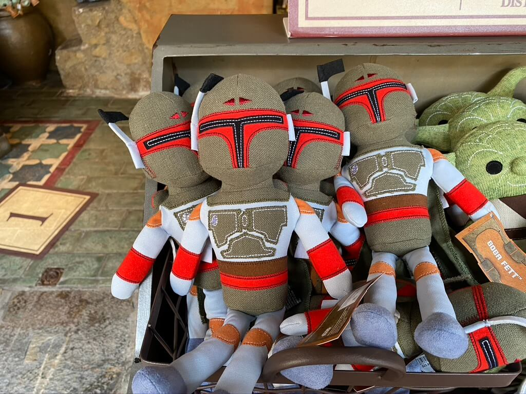 What's new at Galaxy's Edge, this Boba Fett plush along with many other new pieces of merchandise.